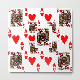 RED QUEEN OF HEARTS  & ACES PLAYING CARDS ARTWORK Metal Print
