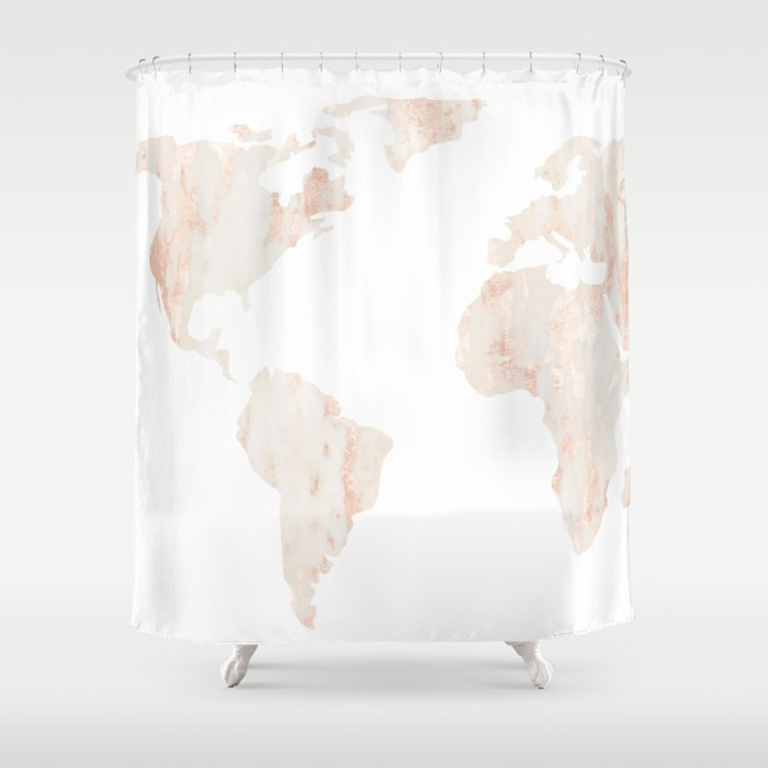 Marble World Map Light Pink Rose Gold Shimmer Shower Curtain