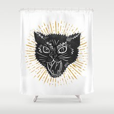 kitty attack Shower Curtain