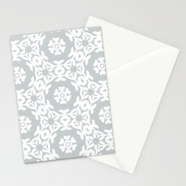 Grey Floral Trellis Woodblock Pattern Stationery Cards