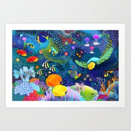 Ocean Tropical Fish Life Art Print