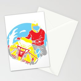 Snowmobiling Gift Make Winter Great Again Snowrider Sled Stationery Cards