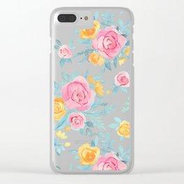 Chalk Pastel Pink & Orange Roses on Sky Blue Clear iPhone Case