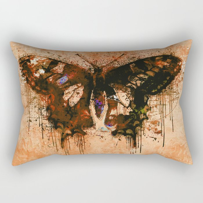 artistic watercolor butterfly painting artwork Rectangular Pillow