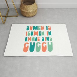 Sumer Is Icumen In - Medieval Music Cuckoo Song Typography to Celebrate Summer Rug