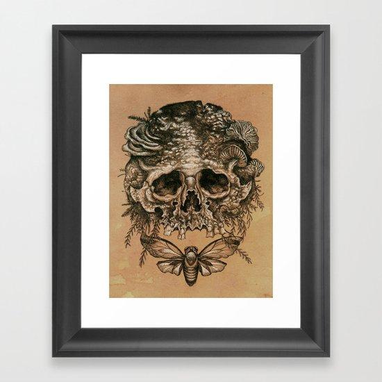 Skull with Cicada Framed Art Print