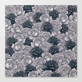 Stop and Smell the Roses B&W / Rose pattern Canvas Print