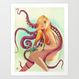 The Girl With The Octopus Tentacles In Her Hair Art Print