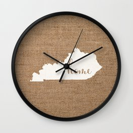 Kentucky is Home - White on Burlap Wall Clock