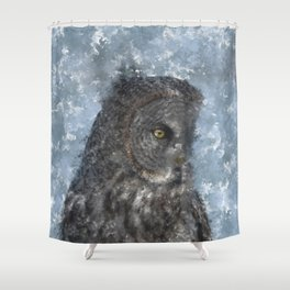 Contemplation - Great Grey Owl Portrait Shower Curtain