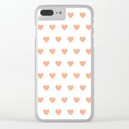 Polka dot hearts - pink Clear iPhone Case