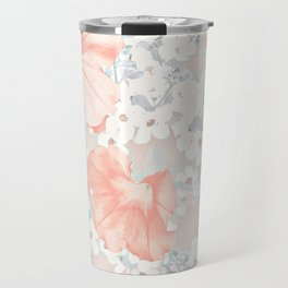 Coral And Grey Petunias Travel Mug