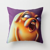 jake Throw Pillows featuring Jake  by Kamory