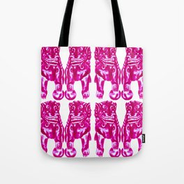 Chinese Guardian Lion Twins in Pink Peony Tote Bag