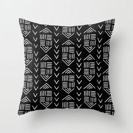 mudcloth 6 minimal textured black and white pattern home decor minimalist Throw Pillow