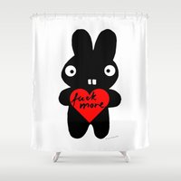 bunny Shower Curtains featuring Bunny by Sylwia Borkowska