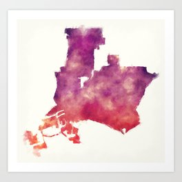 Long Beach California city watercolor map in front of a white background Art Print