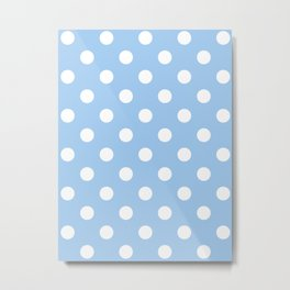 Polka Dots - White on Baby Blue Metal Print