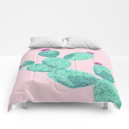 Cactus with pink flowers Comforters
