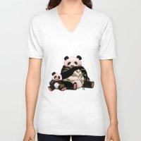 pandas V-neck T-shirts featuring Pandas by J ō v