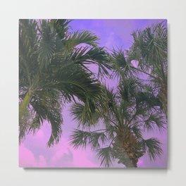 Purple Sky Palms Metal Print