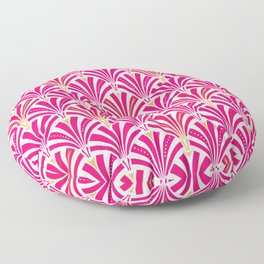 Art Deco Fan Pattern, Fuchsia Pink and White Floor Pillow