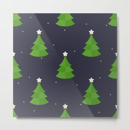 Green Christmas Tree Pattern Metal Print