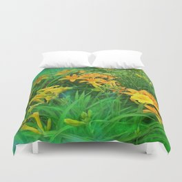 Day-glo Lilies Duvet Cover