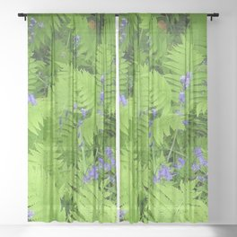 Bluebells and Ferns Sheer Curtain