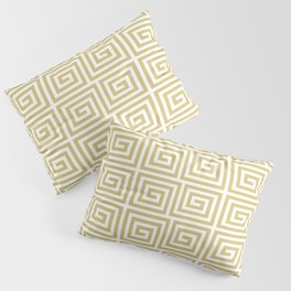 Hollywood Regency Greek Key Pattern Gold and White Pillow Sham