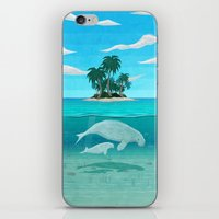 manatee iPhone & iPod Skins featuring Manatee Island by Lidra