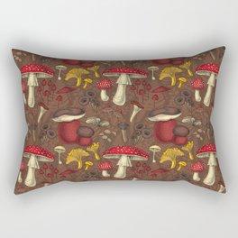 Wild mushrooms on brown  Rectangular Pillow