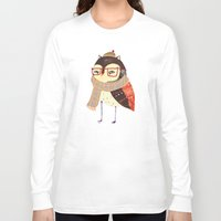 owl Long Sleeve T-shirts featuring  Owl by Ashley Percival illustration