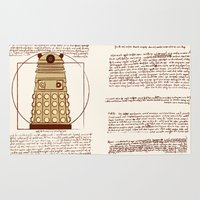 dalek Area & Throw Rugs featuring Vitruvian Dalek by Studio Fibonacci