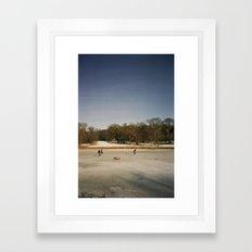 Ice Skaters, Blickling Lake, Norfolk Framed Art Print