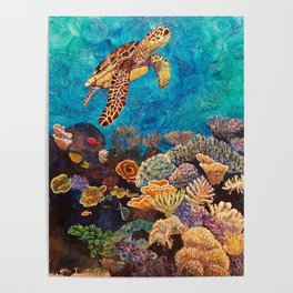 A Look around - Sea turtle in the reef Poster