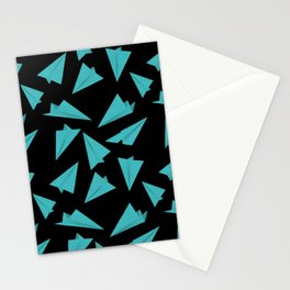 Paper Planes Pattern | Blue Black Stationery Cards