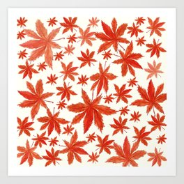 red maple leaves pattern Art Print