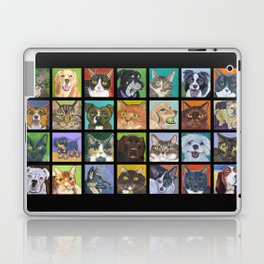 Cats and Dogs in Black Laptop & iPad Skin