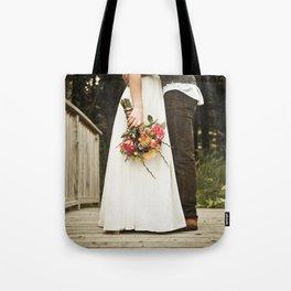 flowers on bridge Tote Bag