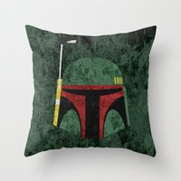boba fett Throw Pillows featuring Boba Fett by Some_Designs