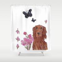 irish Shower Curtains featuring Irish Setter by artofnadia