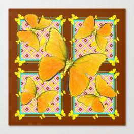Yellow Butterflies Coffee Brown Pink & Blue Patterns Canvas Print
