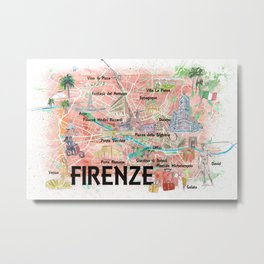 Florence Italy Illustrated Map with Roads Landmarks and Highlights Metal Print