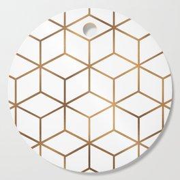White and Gold - Geometric Cube Design Cutting Board