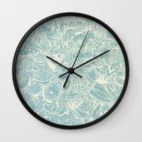Detailed rectangle, light blue  Wall Clock