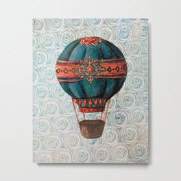 Vintage Hot Air Balloon: Navy and Coral Metal Print