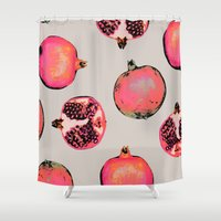 georgiana paraschiv Shower Curtains featuring Pomegranate Pattern by Georgiana Paraschiv