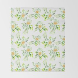 Elegant yellow green watercolor hand painted camellia pattern Throw Blanket