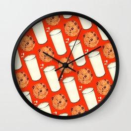 Milk & Cookies Pattern - Red Wall Clock